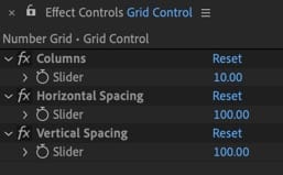 Slider controls in the Null Effect Controls Panel.